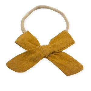 oh baby! School Girl Bow Linen Nylon Headband - Large Bow - Mustard