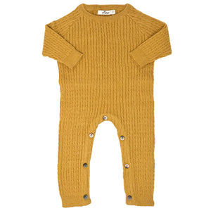 oh baby! Cable Knit Romper Onesie, Mustard