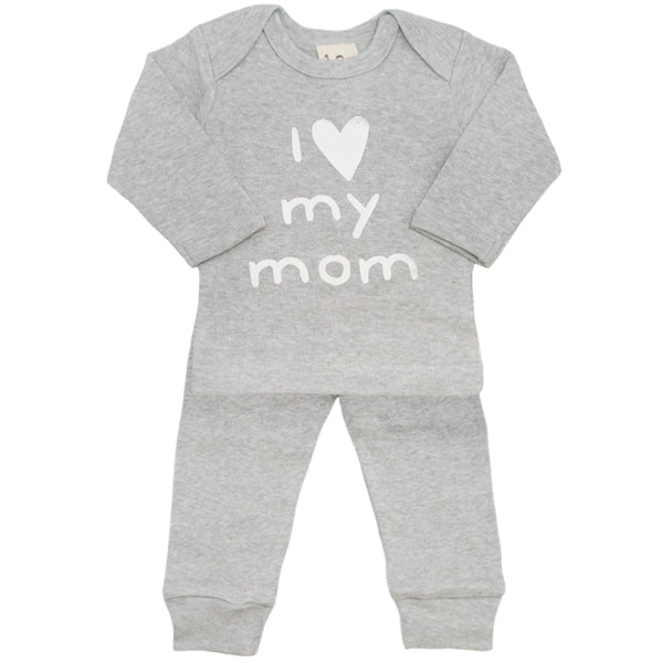 oh baby! Two Piece Set - I Love My Mom - Heather Grey