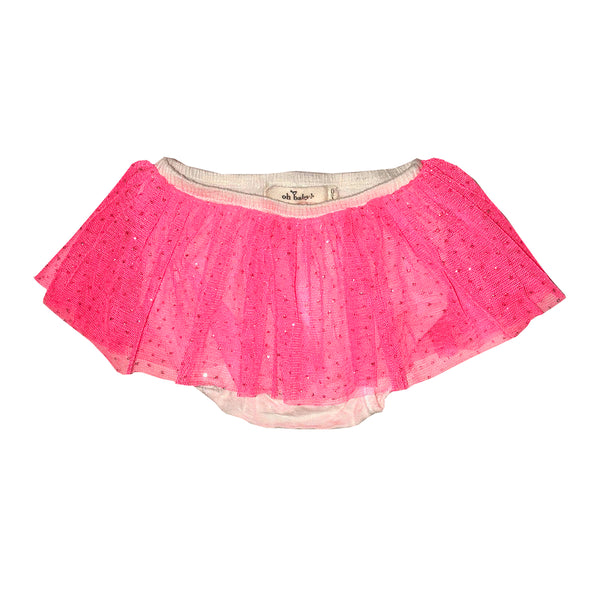 oh baby! Glinda Tushie Diaper Cover - Neon Pink - White