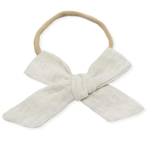 oh baby! School Girl Bow Linen Nylon Headband - Large Bow - Oat
