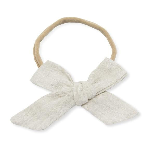 oh baby! School Girl Bow Linen Nylon Headband - Medium Bow - Oat
