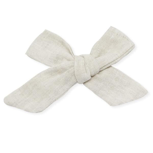 oh baby! School Girl Bow Linen Clip Large - Oat