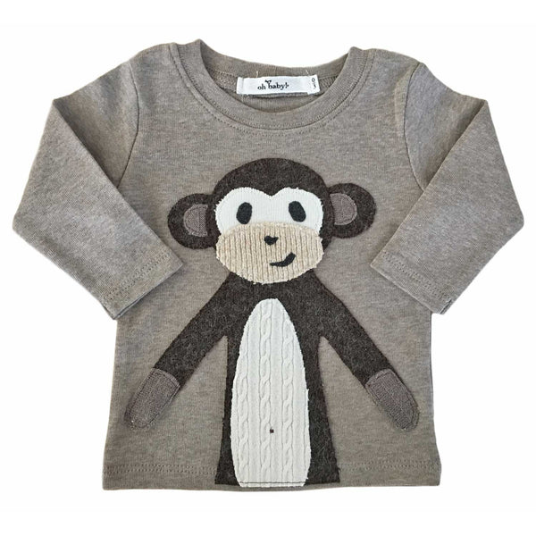 oh baby! Long Sleeve Top - Brown Monkey - oh baby!