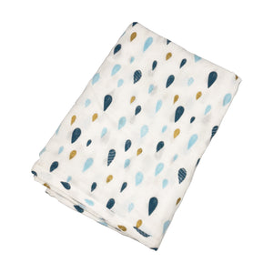 oh baby! Japanese Gauze Swaddle Blanket - Blue Raindrop