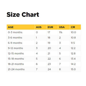 Old Soles Sizing Chart