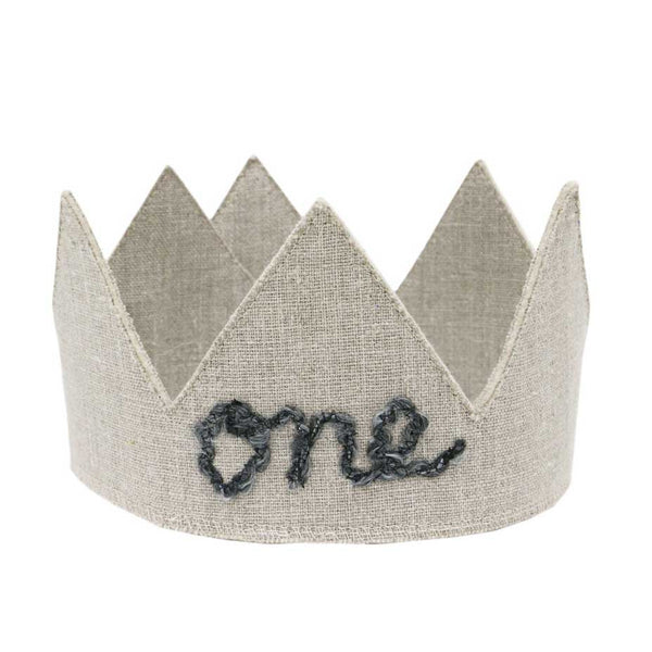 oh baby! Birthday Linen Crown - One - Oatmeal - oh baby!