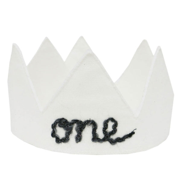 oh baby! Birthday Linen Crown - One - Oyster - oh baby!