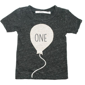 "oh baby! Short Sleeve James Dean Tee - ""One"" Balloon -  Sand"