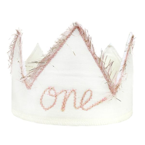"oh baby! ""One"" Birthday Crown with Blush/Gold Trim on Oyster Linen - oh baby!"