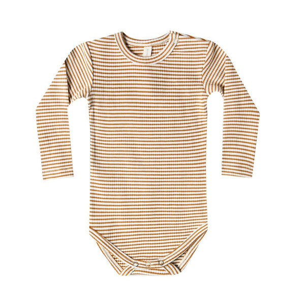 Quincy Mae - Organic Ribbed Jersey Long Sleeve Onesie - Walnut Stripe