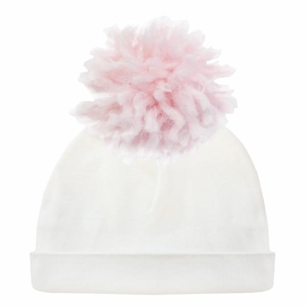 oh baby! Hat - Yarn Pom - Pale Pink on Cream