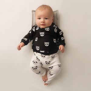 oh baby! NoHo Jogger Pants -  All Over Panda Black Ink - Cream