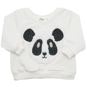 oh baby! Brooklyn Boxy Sweatshirt - Panda Face - Cream - oh baby!