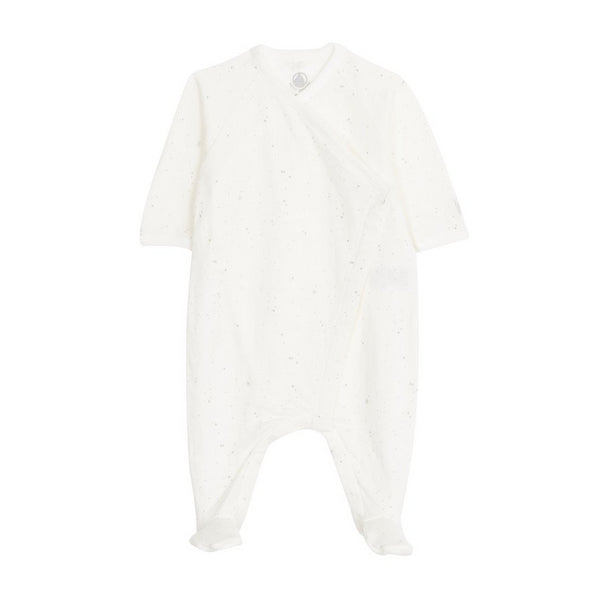 Petit Bateau Baby Printed Side Snap Footie - Off White/Gray