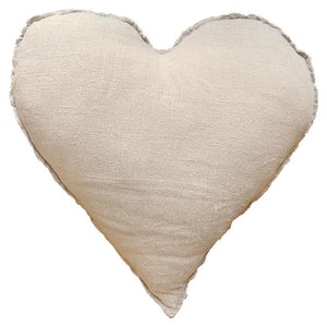 Sugarboo Designs Heart Shaped Linen Pillow with Frayed Edges - oh baby!