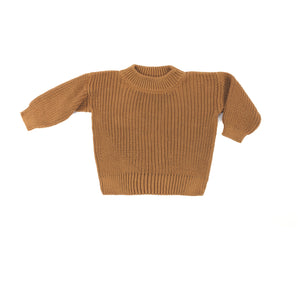 Wild Wawa Crew Neck Knitted Sweater - Pecan