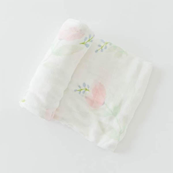 little unicorn Cotton Swaddle Blanket Single - Pink Peony - oh baby!