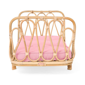 Poppie Rattan Doll Day Bed - Pink