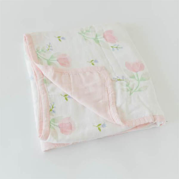 little unicorn Deluxe Muslin Quilt - Pink Peony - oh baby!