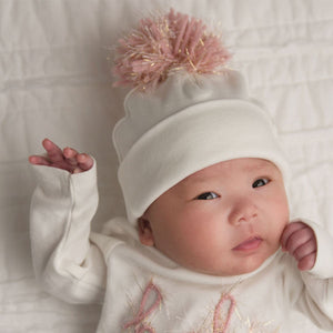 oh baby! Hat - Yarn Pom - Blush Pink / Gold on Cream