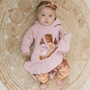 oh baby! Pixie Ruffle Hoodie Sweatshirt with Velvet Sunrise - Blush