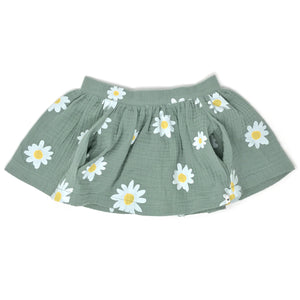 oh baby! Gauze Pocket Skirt with White Daisies - Sea