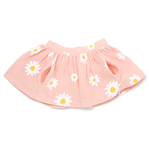 oh baby! Gauze Pocket Skirt with White Daisies - Pale Pink