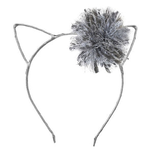 oh baby! Kitty Ear Headband Silver with Charcoal/Silver Yarn Pom