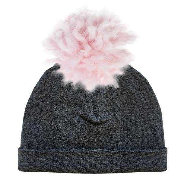 oh baby! Yarn Pom Hat Pale Pink on Charcoal