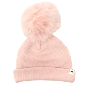 oh baby! Snap Fur Pom Hat Petal - Brushed Pale Pink