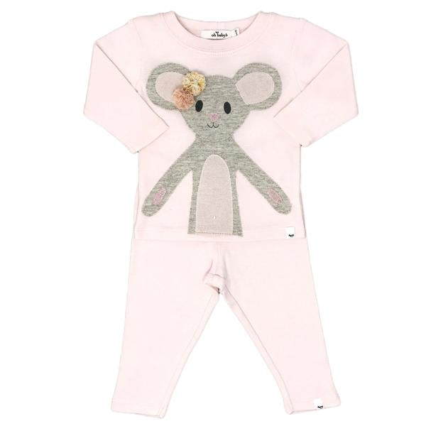 oh baby! Two Piece Set - Pom Pom Daisy Mouse Sand Sparkle - Pale Pink
