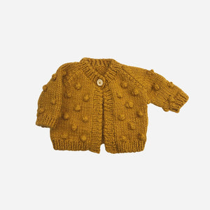The Blueberry Hill Popcorn Knit Cardigan - Mustard