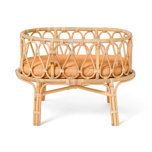 Poppie Rattan Doll Crib - Clay