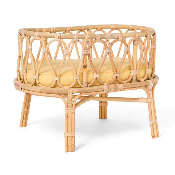Poppie Rattan Doll Crib - Yellow