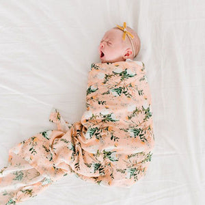 Loulou Lollipop - Muslin Swaddle Blanket - Blushing Protea - oh baby!