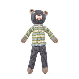 Blabla Knit Doll, School Book Boy Bear - Rattle