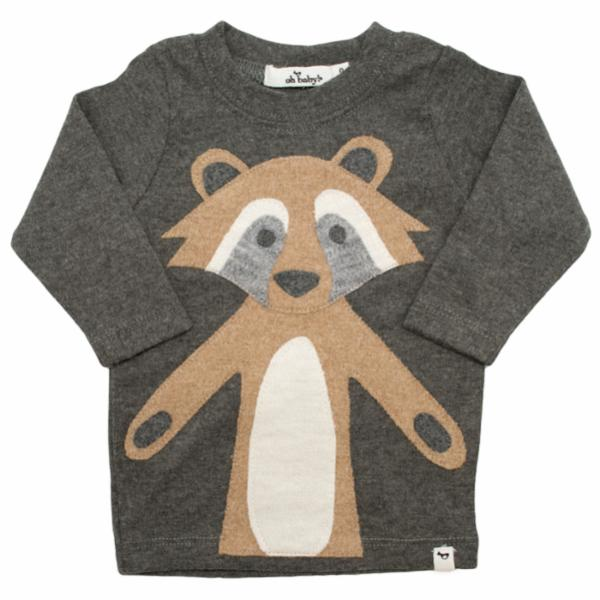 oh baby! Long Sleeve Tee - Ricky Raccoon Tan - Charcoal