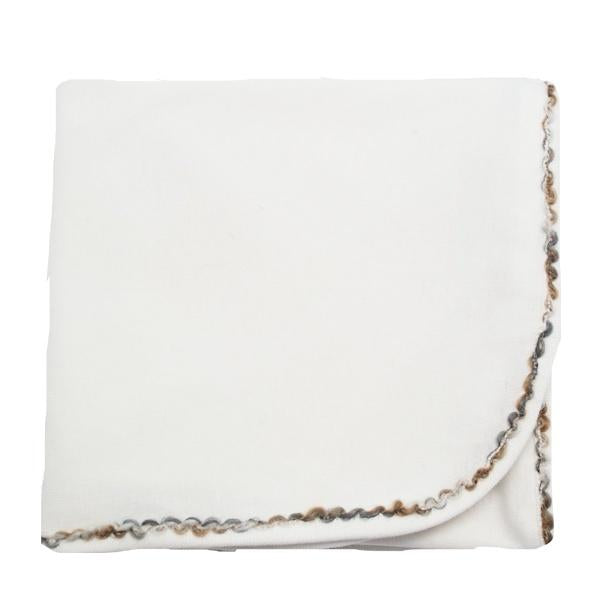 oh baby! Trimmed Layette Blanket - Rocky Road - Cream