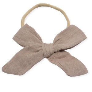oh baby! School Girl Bow Linen Nylon Headband - Large Bow - Rose