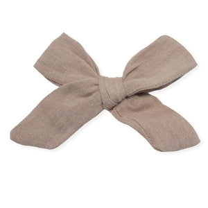 oh baby! School Girl Bow Linen Clip Large - Rose