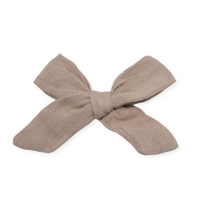 oh baby! School Girl Bow Linen Hair Clip Medium - Rose