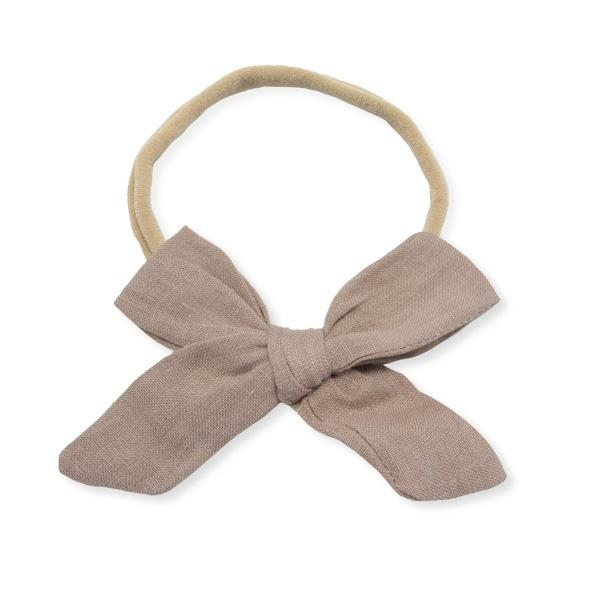 oh baby! School Girl Bow Linen Nylon Headband - Medium Bow - Rose