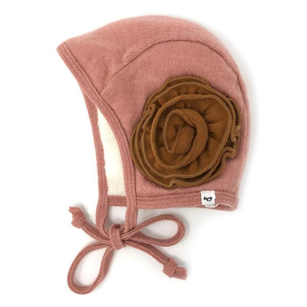 oh baby! Winter Sweater Knit Pilot Cap with Rust Flowers - Rose