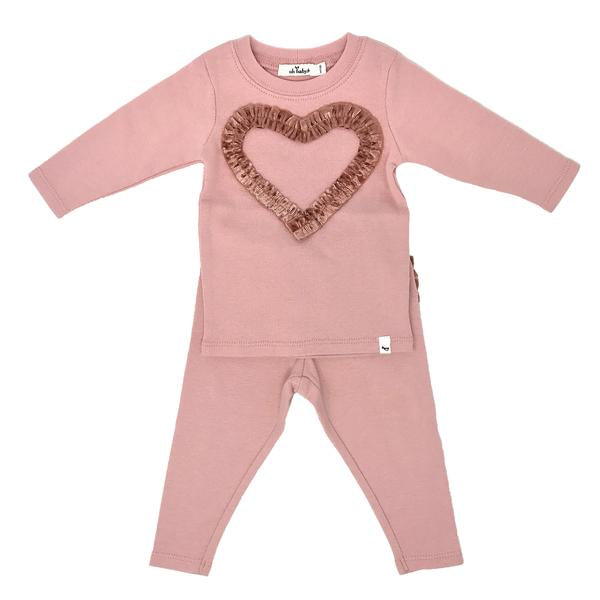oh baby! Two Piece Set - Ruffle Heart Clay Velvet - Blush