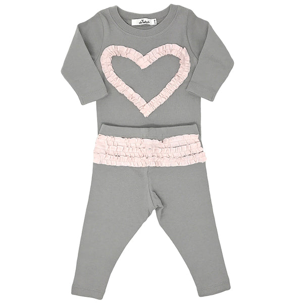 oh baby! Two Piece Set - Ruffle Heart Pale Pink - Gray
