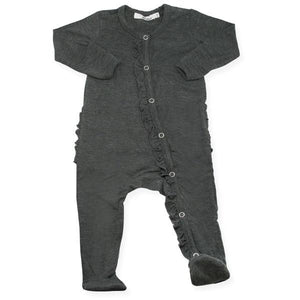 oh baby! Ruffle Footie Onesie Bamboo - Charcoal Heather