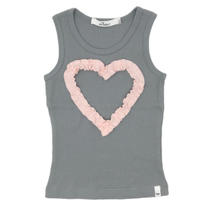 oh baby! Tank Top - Ruffle Heart Pale Pink - Gray