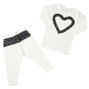 oh baby! Two Piece Set - Ruffle Heart Pepper - Cream
