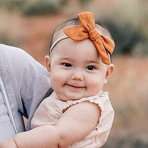 oh baby! School Girl Bow Linen Nylon Headband - Medium Bow - Rust